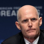 He looks a little stern here, but Gov. Rick Scott made a funny in his State of the State speech Tuesday.