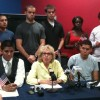 Activists Sharon Little and several DREAM Act supporters held a press conference at Miami Dade College's Wolfson Campus on Friday.