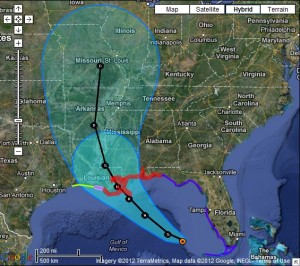 The projected path of Tropical Storm Isaac.