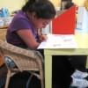 Lupita Leon practices reading.