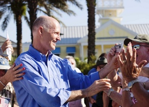 Rick Scott campaigns for governor at The Villages on October 1, 2010.