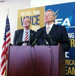 FEA President Andy Ford and attorney Ron Meyer call the pension law a tax on teachers and other state workers.