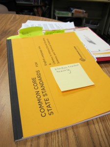 Sara LaBarbera's Common Core State Standards handbook -- flagged with notes.