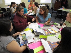 University of Central Florida elementary education students discuss how to incorporate books, maps, magazines and other materials into lesson plans.