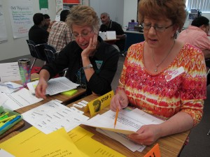 Joanne Land, right, sorts vocabulary words into tiers to learn more about how Common Core standards work. Land was one of hundreds of parents who attended a recent Parent University session. Many parents said they wanted to learn more about Common Core standards and testing.