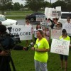 Florida Parents Against Common Core protest at a national meeting discussing the standards in June in Orlando.