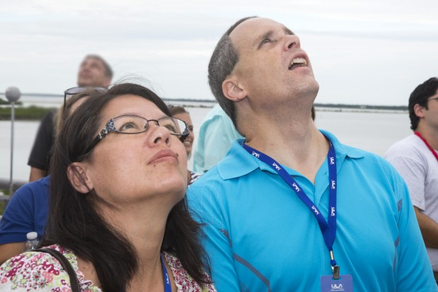 Lockheed Martin-NSTA Teacher Fellows Mary Maddox and Steve Kirsche watch the MUOS-2 satellite launch.