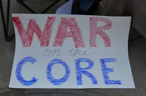 A sign from a California protest against Common Core State Standards.