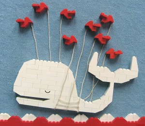The famed Twitter fail whale, made with Legos.