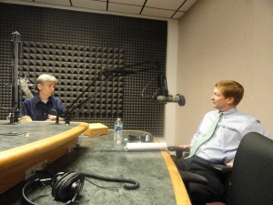 Florida Agriculture Commissioner Adam Putnam, right, chats with WUSF's Carson Cooper.
