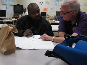Jermaine Watkins is studying for his GED at Metropolitan Ministries.