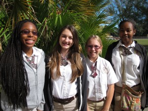 Students at the all-girld Ferrell Preparatory Academy in Tampa. Ariana Jerome, Shawna Kent, Elena Postlewait and Destiny Jackson all say they prefer their all-girls school to the co-ed schools they previously attended.