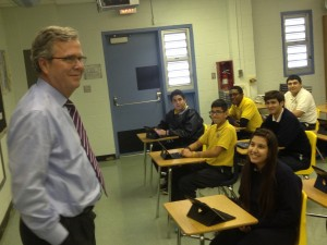 Former Gov. Jeb Bush visited a Hialeah charter school for National School Choice Week in TKTK.