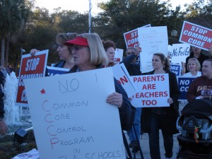 Protestors object to Common Core math and language arts standards outside a State Board of Education meeting in Orlando.
