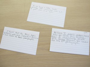 Each day, Dawn Norris' students fill out notecards about what they learned in class.
