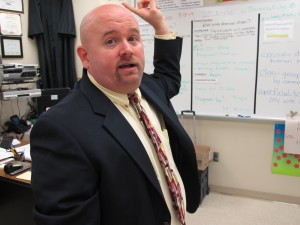 Thomas McNabb points out the changes made to an Ocoee High School science classroom, part of a $14 million program at seven schools to test the best ways to upgrade school technology.
