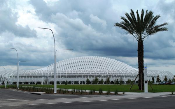 The distinctive facade of the main building on Florida Polytechnic's campus.