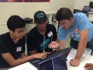 Students at the CodeNow workshop in Miami learned to program simple games, such as asking users to quickly match words and colors.
