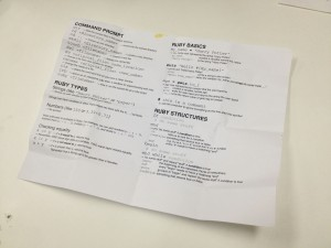 a quick-reference sheet for the programming language, Ruby, which students learned at the CodeNow camp in Miami.