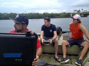 Ivan Bertaska, Anderson Lebadd and Edoardo Sarda run their robotic boat through the motions on the Intracoastal Waterway near Dania Beach.
