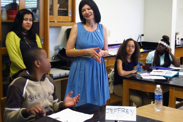 Lily Eskelsen Garcia asks students what they want from the president on a visit to Allapattah Middle School last week.