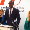 Broward schools superintendent Robert Runcie, American Federation of Teachers president Randi Weingarten, left, and Broward Teachers Union president Sharon Glickman, right, announced the creation of two task forces to recommend changes to teacher evaluations and high school schedules.