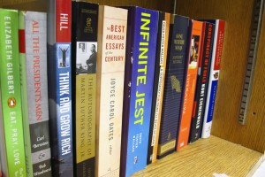 "Some of the books in Daniel Dickey's library. No student has tackled ""Infinite Jest"" yet, considered one of the longest and most complicated American novels."