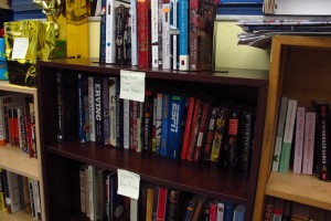 Some of the books in Daniel Dickey's classroom library.