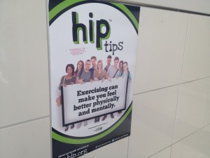These posters advertise the program, but also offer health tips to students who might not have had the HIP classes.