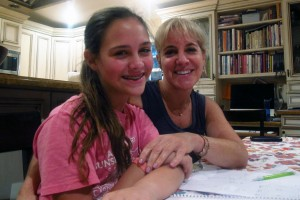 Jessica Knopf and her daughter, Natasha, after a homework session.