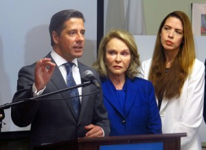Miami-Dade Superintendent Alberto Carvalho at a February press conference. He's suspending testing in Miami-Dade schools.