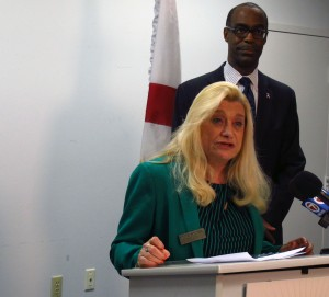 Broward Teachers Union president Sharon Glickman, with Broward County schools superintendent Robert Runcie, calling for changes to the teacher evaluation system in October.