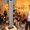 St. Petersburg Museium of Fine Arts docent Tina Douglass shares the story behind an African elephant mask with sixth graders from Clearwater's Oak Grove Middle School.