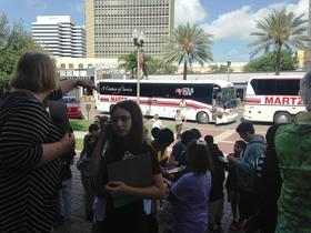 Oak Grove Middle School students arrive at the St. Petersburg Museum of Fine Arts for a tour of ancient civilizations and art.