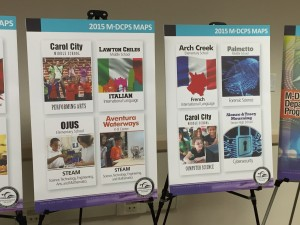Posters advertise new Miami-Dade County school choice programs.