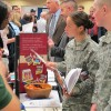 Job seekers speaking with potential employers at the Veteran's Job Fair in Boise in November.