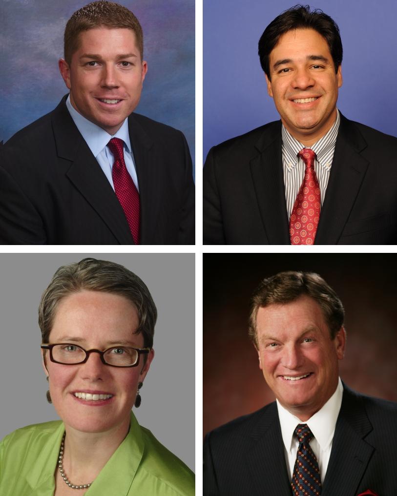 Idaho's Congressional candidates, top left Jimmy Farris, Raul Labrador, Nicole LeFavour, Mike Simpson
