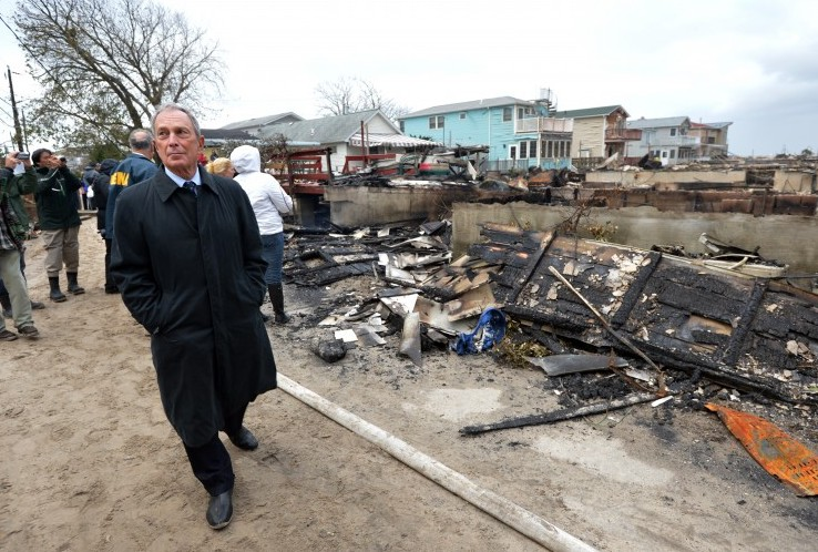 Mayor Mike Bloomberg toured a storm ravaged section of Queens this week.  Bloomberg was outed yesterday as one of Education Voters of Idaho's most generous contributors.