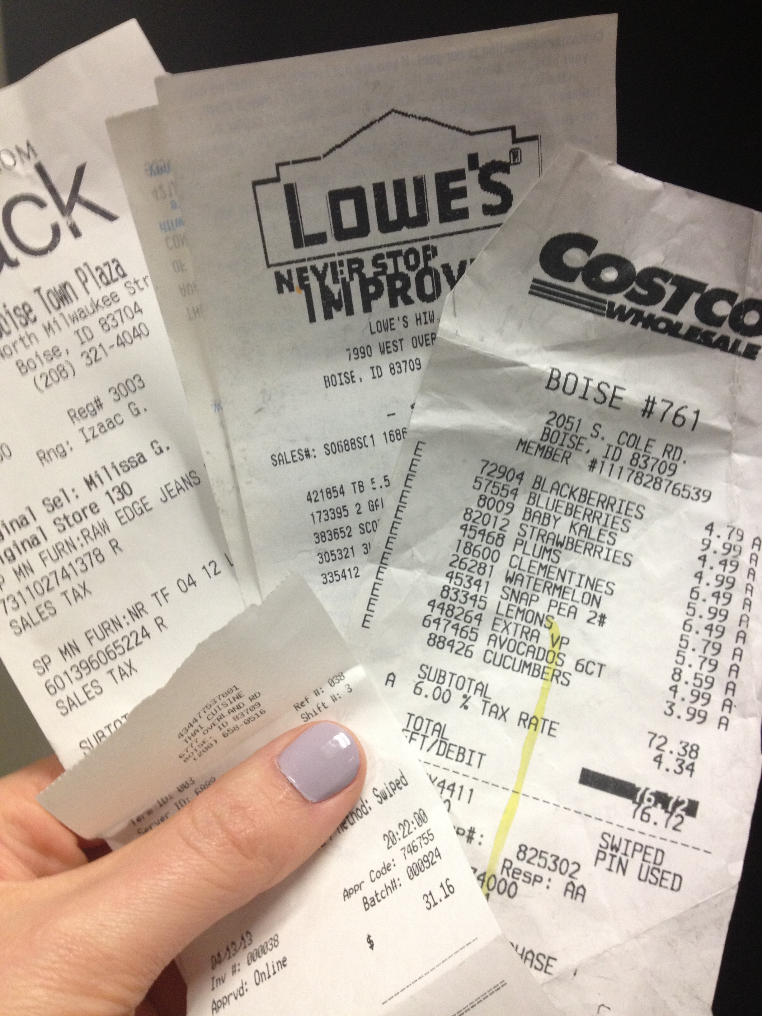Receipts -- taxes sales tax