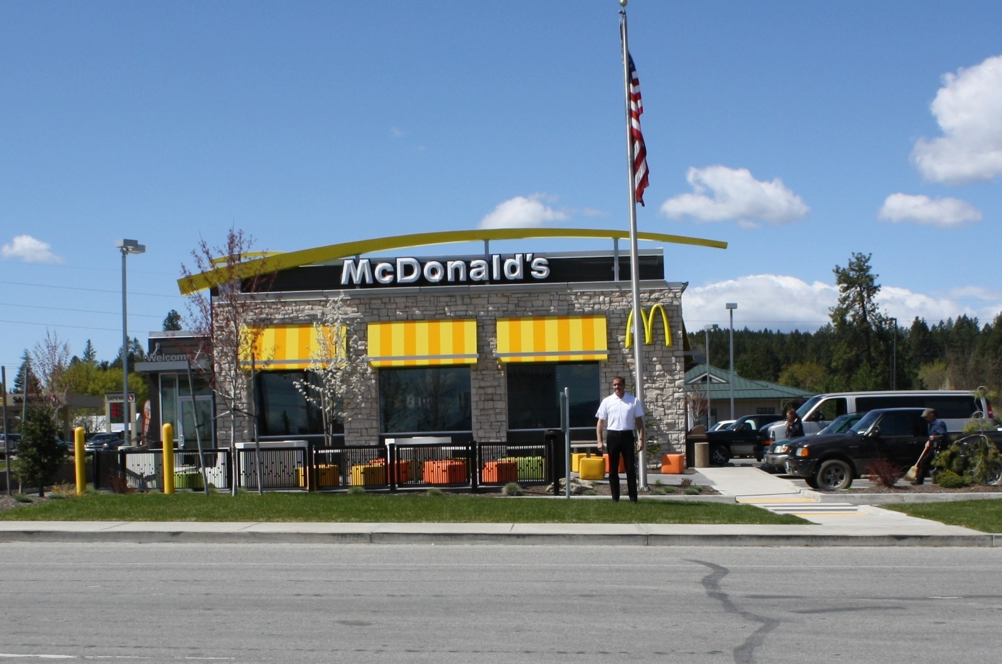 Tim Skubitz stands in front of his McDonalds in Newport, Washington. It's right across the street from Oldtown, Idaho.