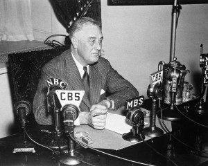 Pres. Franklin Roosevelt broadcasts from the White House in May 1939.