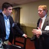 Patrick Clark of Burstpoint Networks speaks with Jamie Coughlin before the event.