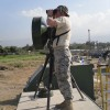 First Lt. Jake Cadwell, with the 3rd Combat Communications Group, sets up a line-of-sight microwave transmitter.