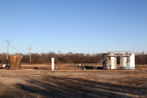 Seismologists say oil and natural gas disposal wells, like this one near Sparks, Okla., are likely triggering earthquakes in Oklahoma.
