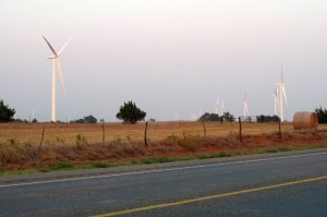 Wind turbines stretch to the horizon northwest of Woodward, Okla in this 2011 photo.