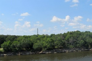 The view of the GRDA coal-fired power plant from near its wastewater discharge point on the Grand River.