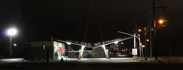 A gas station in Oklahoma City promotes ethanol-free gasoline.