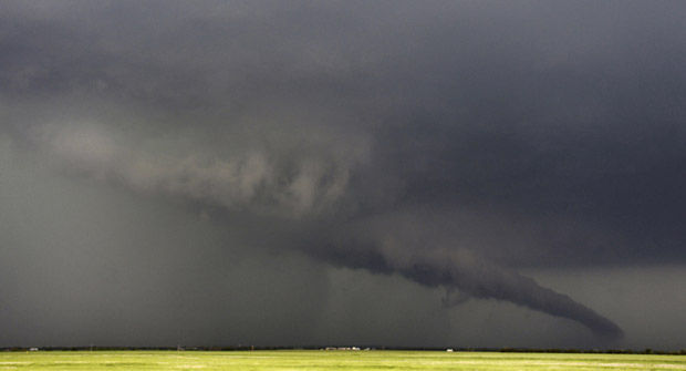 A massive storm front in May 2013 spawned a swarm of tornadoes, including this one near the Kansas/Oklahoma border.
