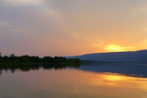 Sardis Lake at sunset on Sept. 17, 2010.