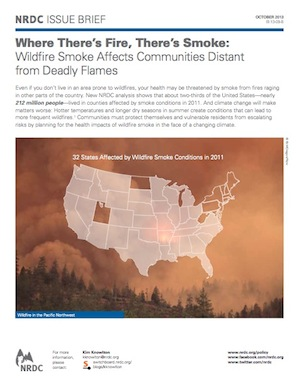 Click here to read a .pdf of the NRDC's report on wildfire smoke exposure.